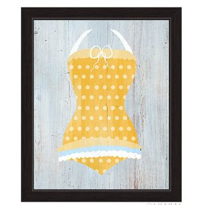 'Vintage Yellow Polka Dot Bathing Suit' Illustration Framed Graphic Art by Beachcrest Home