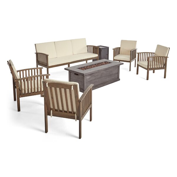 Mahika Outdoor 7 Piece Sofa Seating Group with Cushions by Charlton Home Charlton Home
