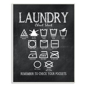 'Laundry Cheat Sheet' Textual Art by Laurel Foundry Modern Farmhouse