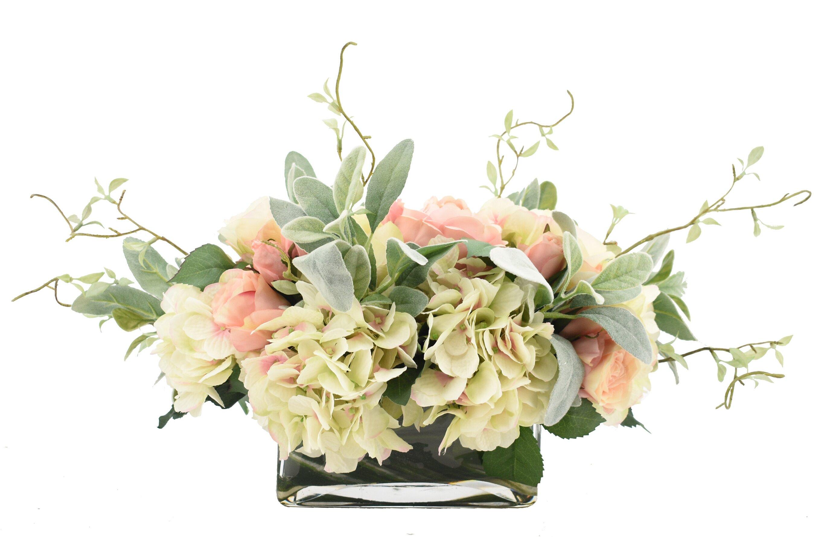 Creative Displays Inc Rose And Hydrangea Floral Arrangement In Vase Reviews Perigold