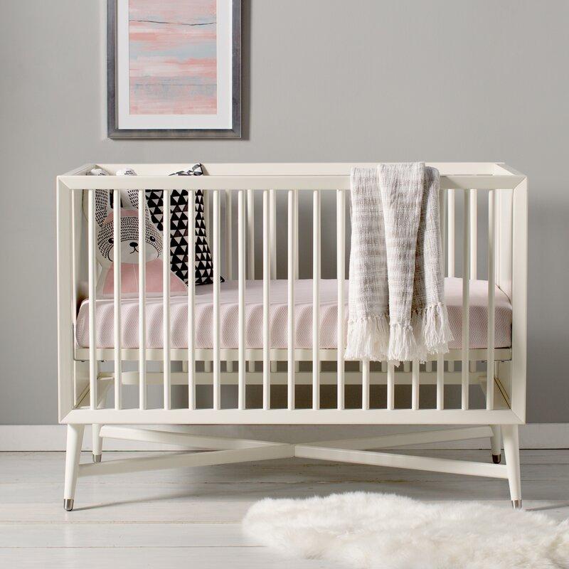 Charming Mid Century 3 In 1 Convertible Crib