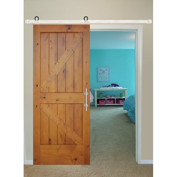 Rustic Knotty Alder Prefinished K Strap Solid Panelled Wood Interior Barn Door by Creative Entryways