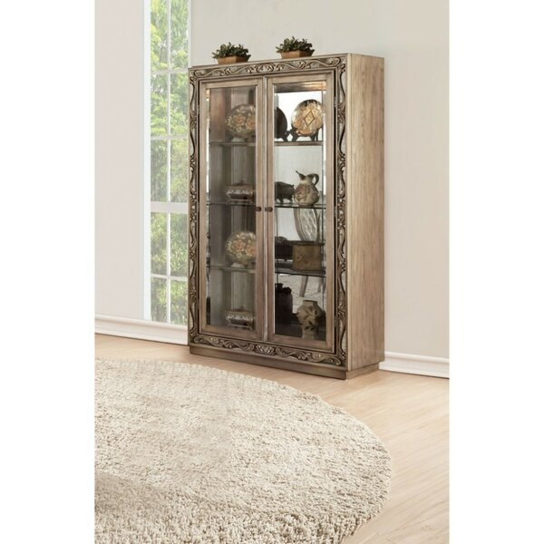 Huntington Spacious Wood and Glass Curio Cabinet by Rosdorf Park