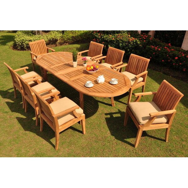 Liggett Luxurious 9 Piece Teak Dining Set by Rosecliff Heights
