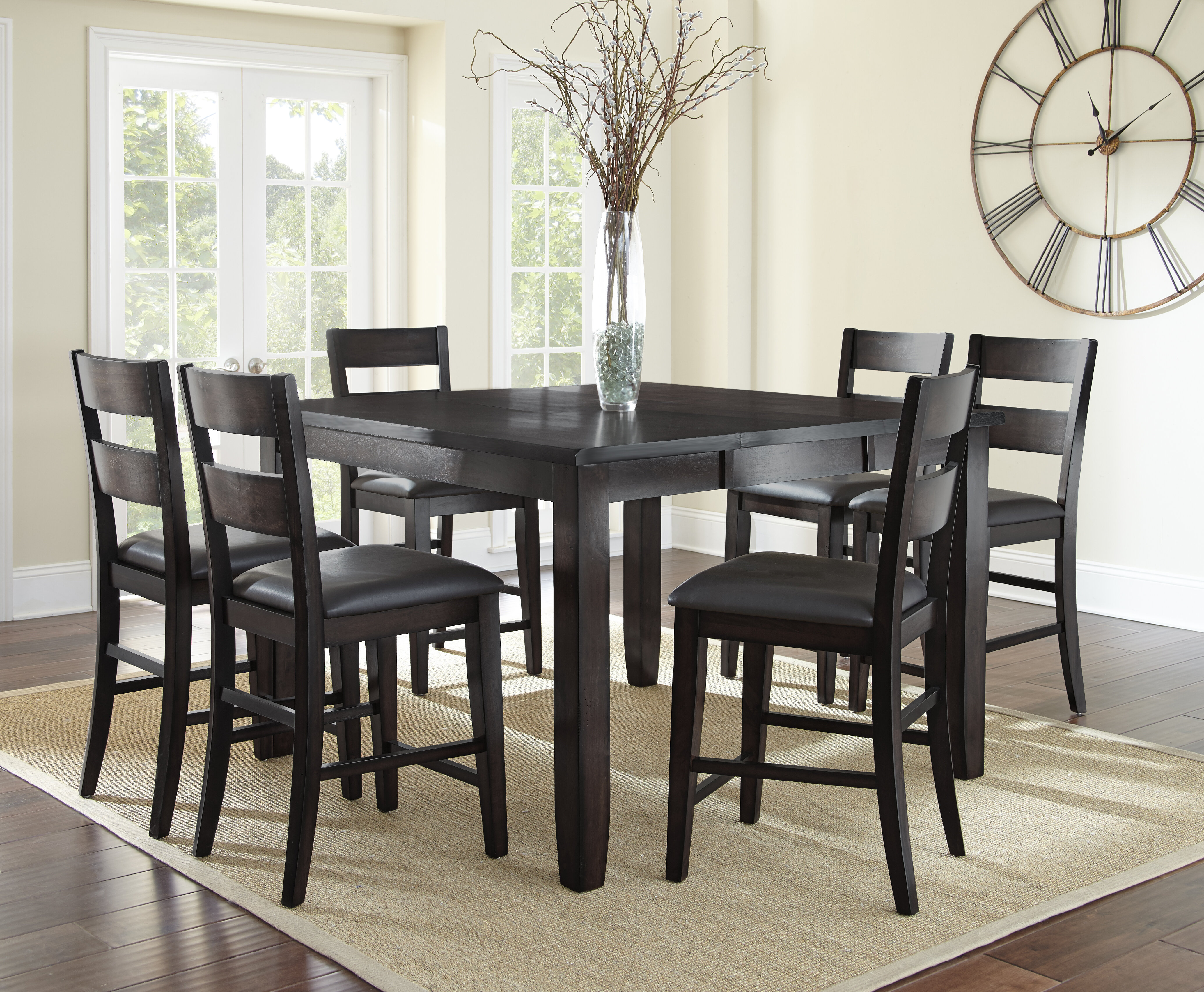 Alcott Hill Wynwood 7 Piece Counter Height Solid Wood Dining Set