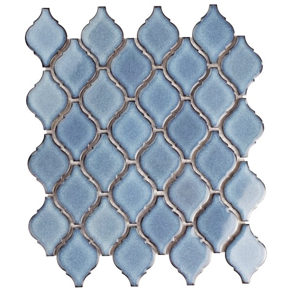 Arabesque 1.87 x 2.75 Porcelain Mosaic Tile in Blue by EliteTile