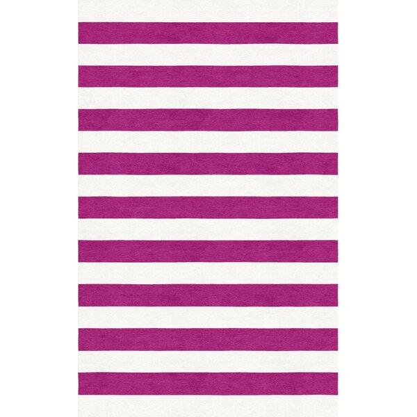 Mellott Stripe Hand-Woven Wool Magenta/White Area Rug by Latitude Run
