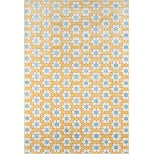 Hex Tile Indoor/Outdoor Yellow Area Rug