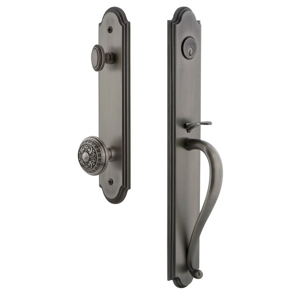 Arc S Grip Single Cylinder Handleset with Windsor Interior Knob by Grandeur