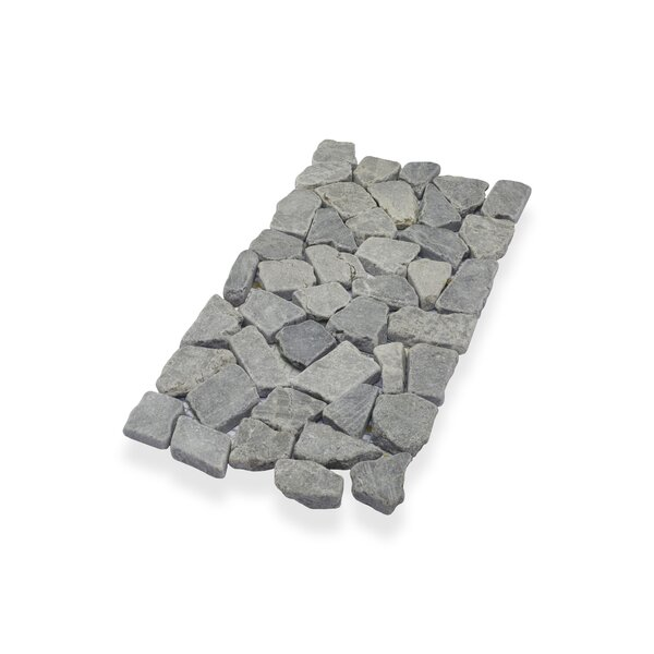 "Border Interlock 6 x 11 3/4"" Natural Stone Pebbles/Rocks Tile in Gray by Pebble Tile"