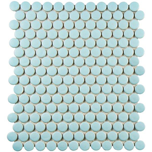 Retro 9.75 x 11.5 Porcelain Mosaic Tile in Light Robin Egg Blue by EliteTile