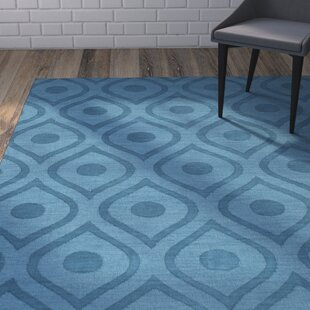High-End Castro Hand Woven Wool Teal Area Rug By Wrought Studio