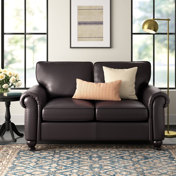 Top Offers Bella Vista Leather Loveseat by Three Posts by Three Posts