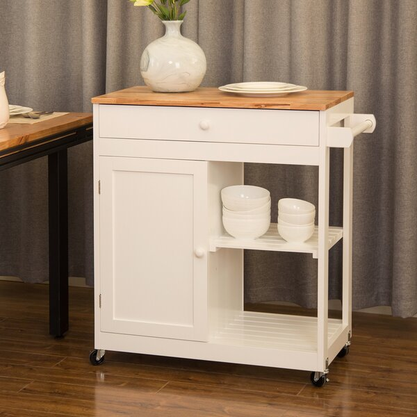 Courtois Kitchen Island with Rubberwood Top by August Grove