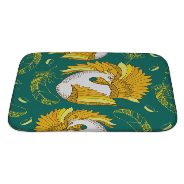 Birds with Mythological Firebird and Feathers Bath Rug