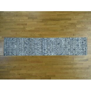 One Of A Kind Bearer Undyed Hand Knotted Runner 2 7 X 14 1 Wool Blue Beige Area Rug