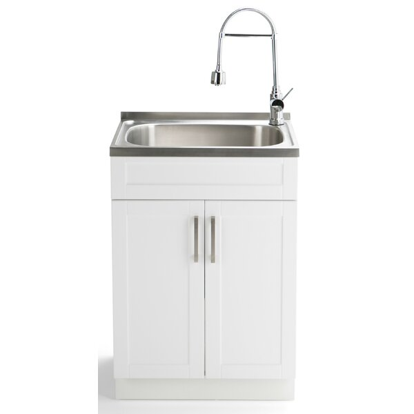 Hennessy 23.6 x 19.7 Free Standing Laundry Sink with Faucet by Simpli Home