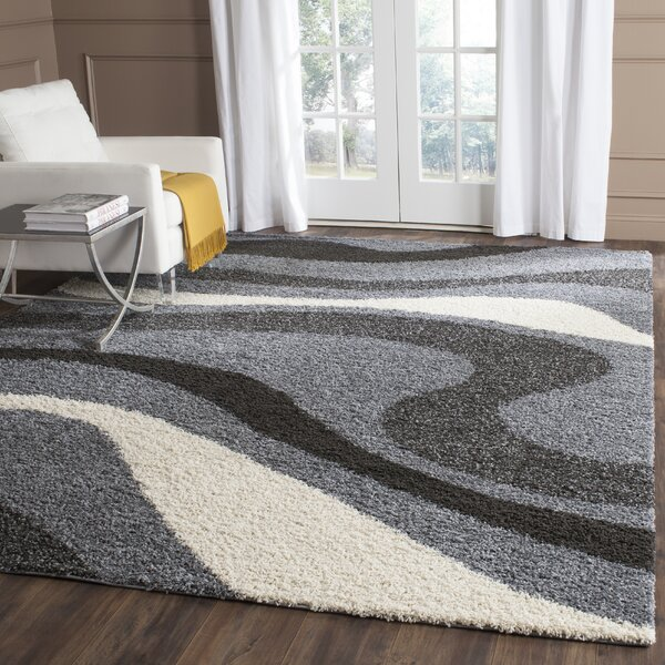 Driffield Gray/Ivory/Back Area Rug by Ebern Designs