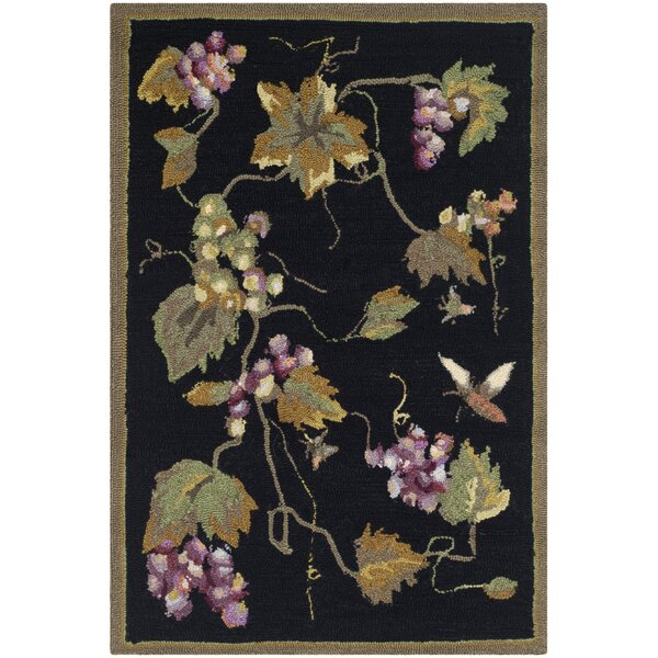 Olson Hand-Hooked Black Area Rug by Charlton Home