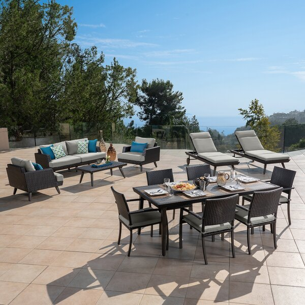 Mangino Casual 13 Piece Sunbrella Complete Patio Set with Cushions by Highland Dunes