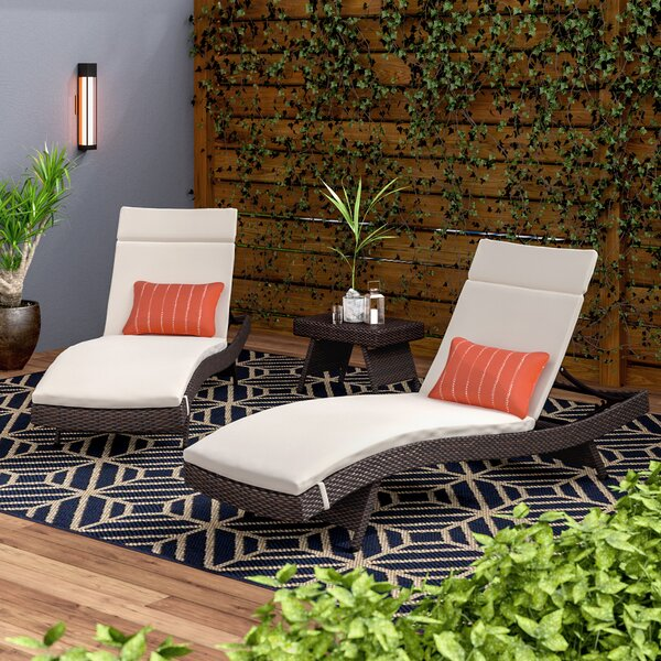 Ardoin Sun Reclining Chaise Lounge With Cushion And Table By Brayden Studio