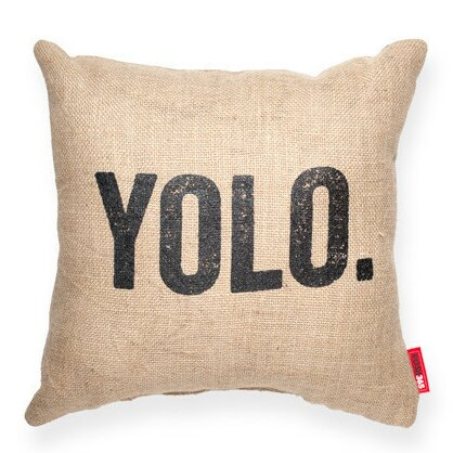 Expressive YOLO Decorative Burlap Throw Pillow by Posh365