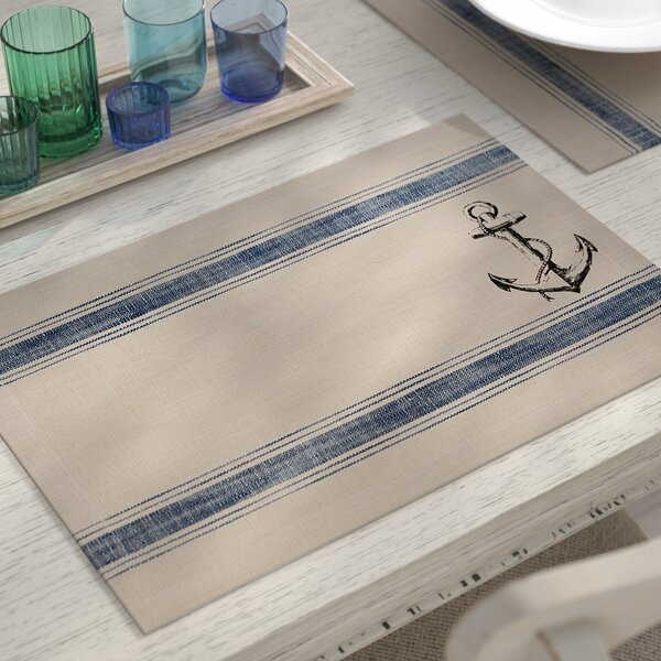Stoneleigh Anchor Feed Sack Placemat (Set of 6) by Beachcrest Home