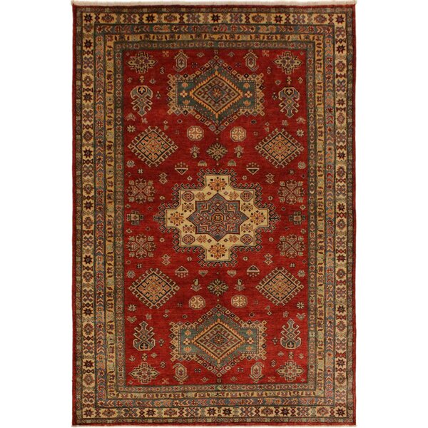 One-of-a-Kind David Super Kazak Hand-Knotted Wool Red/Tan Area Rug by Astoria Grand