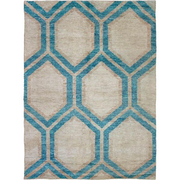 One-of-a-Kind Creasey Hand-Knotted Silk Beige/Turquoise Area Rug by Bungalow Rose