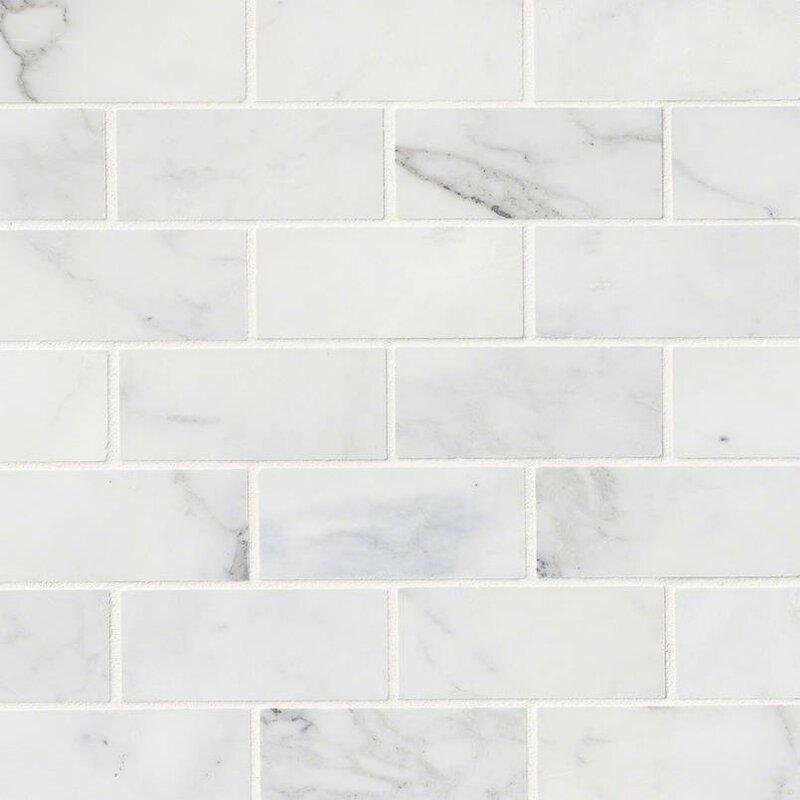 "Calacatta Cressa Honed 2"" x 4"" Marble Subway Tile in White"