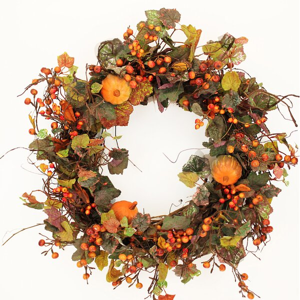 Fall 22 Pumpkin and Hypericum Berries Wreath by The Holiday Aisle