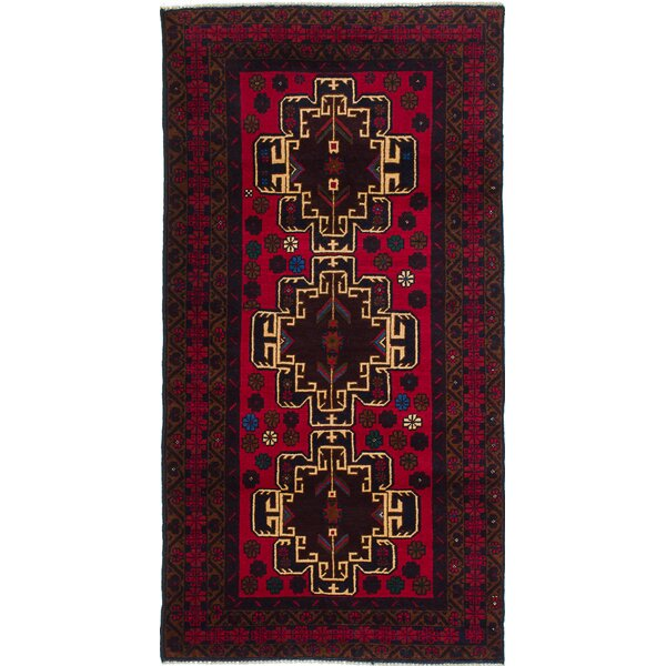 One-of-a-Kind Ingham Hand-Knotted Red Area Rug by Bloomsbury Market