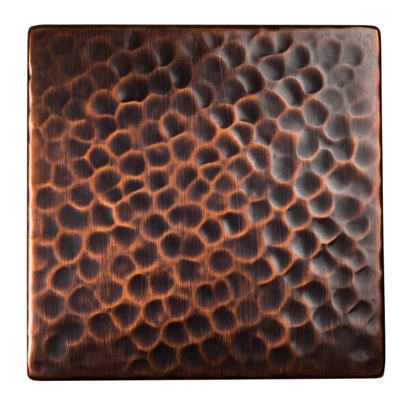 Solid Hammered Copper 4 x 4 Decorative Accent Tile in Antique Copper by The Copper Factory