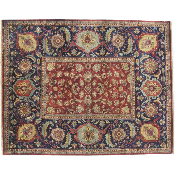 Tabriz Hand-Knotted Wool Red/Blue Area Rug by Exquisite Rugs