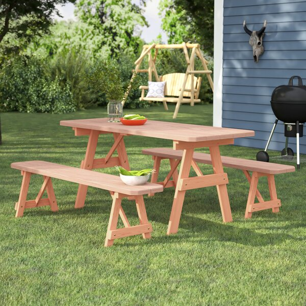 Vestal Pine Picnic Table with 2 Benches by Loon Peak