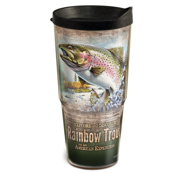 Fishing Hole Trout 2-Tier 24 oz. Plastic Travel Tumbler by American Expedition