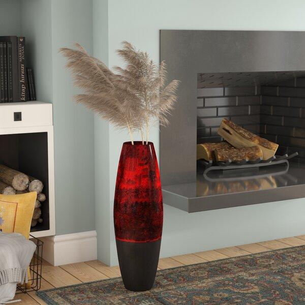 Sonia Swirl Cylinder Floor Vase with Natural Botanicals by Bloomsbury Market