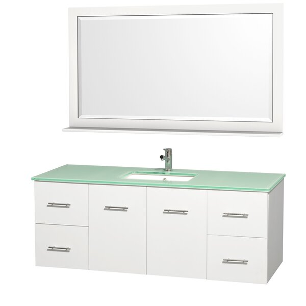 Centra 60 Single White Bathroom Vanity Set with Mirror by Wyndham Collection