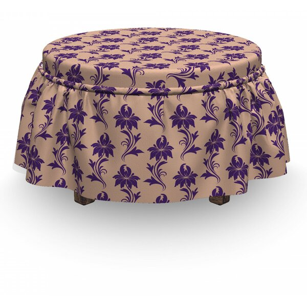 Ancestral Blooming Nature 2 Piece Box Cushion Ottoman Slipcover Set By East Urban Home