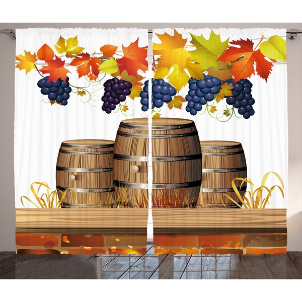 Brittany Grapes Home Wood Wine Barrels with Faded Golden Autumn Leaves Fall Sunlight Design Graphic Print & Text Semi-Sheer Rod Pocket Curtain Panels (Set of 2) by Fleur De Lis Living