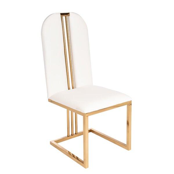 Talkington Velvet Metal Side Chair in White by Everly Quinn Everly Quinn