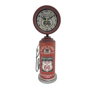 Route 66 Retro Rustic Metal Gas Pump Tabletop Clock