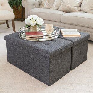 Foldable Tufted Storage Ottoman (Set of 2)