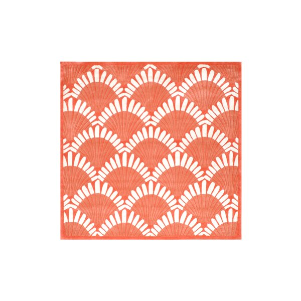 Alex Hand-Tufted Coral/White Area Rug by Highland Dunes