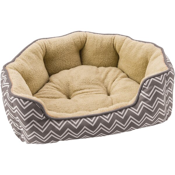Sleep Zone Chevron Step in Scallop Bolster Dog Bed by Ethical Pet