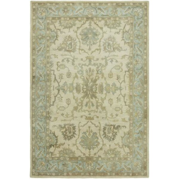 Riceboro Hand-Tufted Wool Ivory/Light Blue Area Rug by Ophelia & Co.