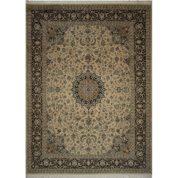 Canning Persian Hand-Knotted Wool Navy/Beige Area Rug by Fleur De Lis Living
