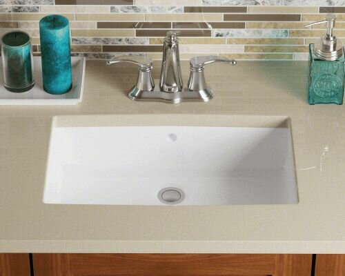 Vitreous China Rectangular Undermount Bathroom Sink by Polaris Sinks