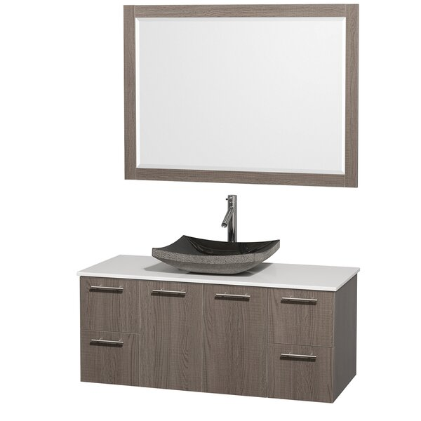 Amare 48 Single Gray Oak Bathroom Vanity Set with Mirror by Wyndham Collection