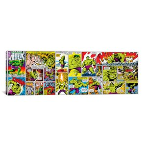 Marvel Comics Hulk Cover and Panel Panoramic Graphic Art on Wrapped Canvas by iCanvas